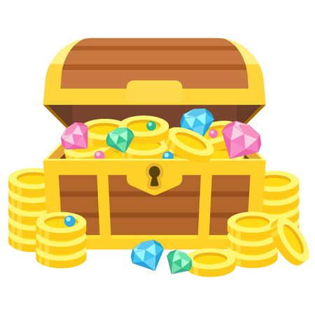 Illustration of a treasure box with gold coins and jewels Illustration