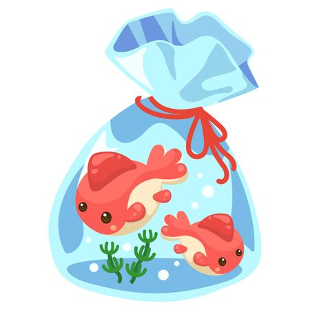 Illustration of a goldfish bag scooped with goldfish for the summer festival