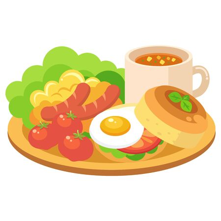 Illustration of morning plate (breakfast set of salad, scrambled eggs, wiener, tomatoes, eggs, bread)