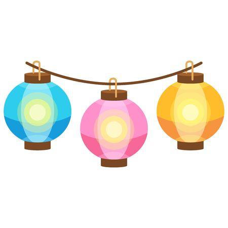 Ilustración de linternas para decorar los puestos del festival de verano.