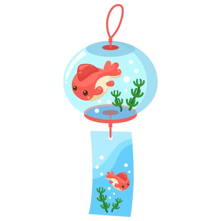Illustration of a wind chimes cool in summer Иллюстрация