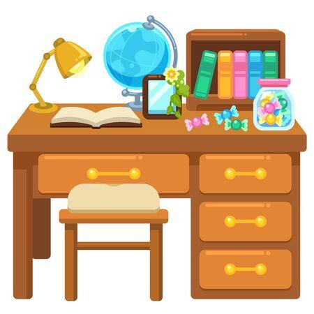 Illustration of study desk and chair  イラスト・ベクター素材