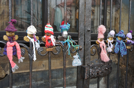 gratings: Angels in antique lattice in winter outfit