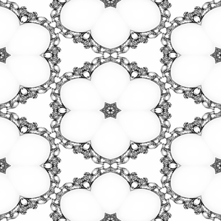 Luxury elegant ornamental silver frame as seamless background Stock Photo