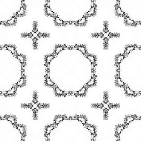 Luxury elegant ornamental silver background, kaleidoscopically generated, seamless Stock Photo