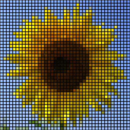 pixelated: Sunflower as mosaic texture