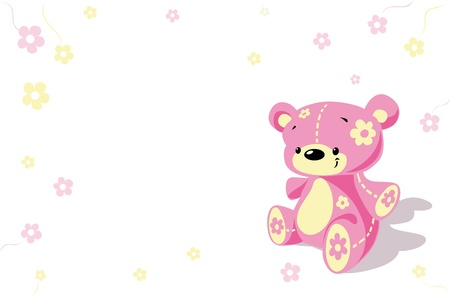 teddy: Rosa Blume tragen Illustration