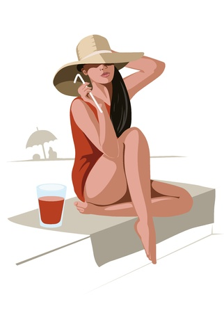 straw hat: Girl with hat and drink Illustration