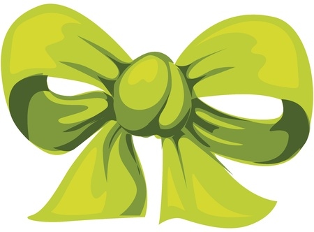 silk ribbon: Green bow