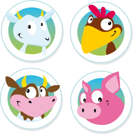granja avicola: etiqueta de animales de granja