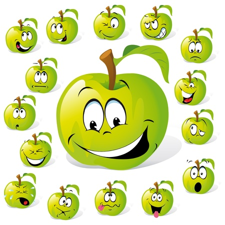 emotions faces: green apple with many expressions