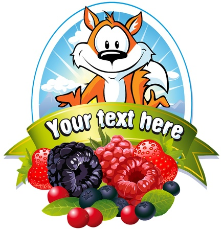 cartoon fruit: natural label with forrest fruit and fox Illustration