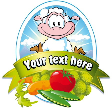 vegetable cartoon: vegetable label with sheep