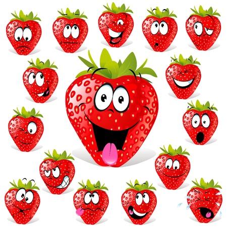 fraise: bande dessin�e de fraise avec de nombreuses expressions Illustration