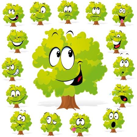 arboles de caricatura: árbol con muchas expresiones Vectores