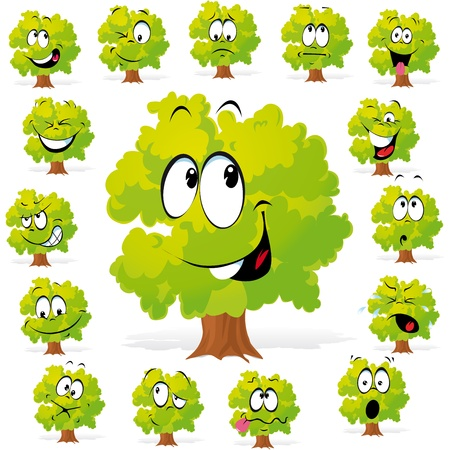 cry: tree with many expressions  Illustration