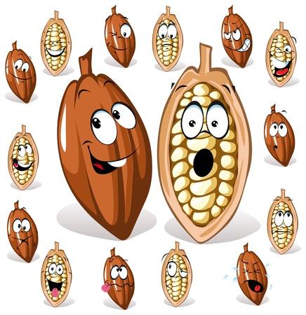 cacao: grano de cacao con muchas expresiones  Vectores
