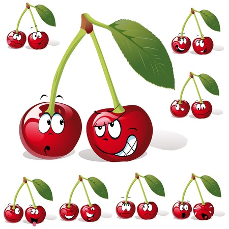 cherry with many expressions  Stock Vector - 10866478