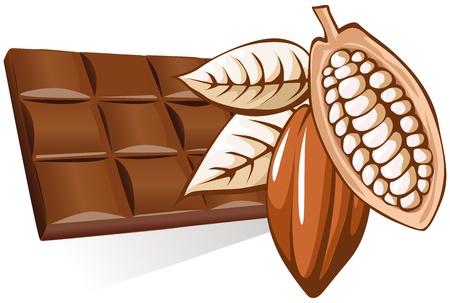 chocolade met cacao bonen