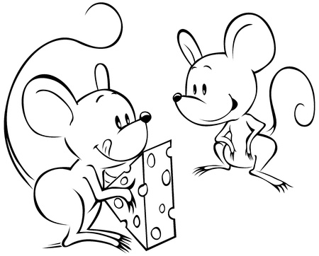 rodents: two mouses with cheese black outline sketch Illustration