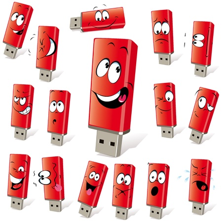 computer memory: red flash disk with many expressions