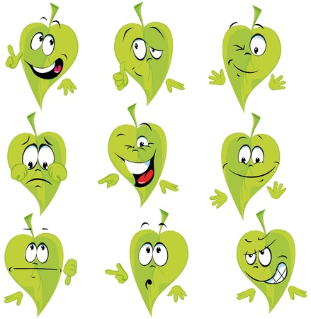 green leaf cartoon with many expressions
