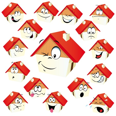 feeling good: house icon with many expressions Illustration