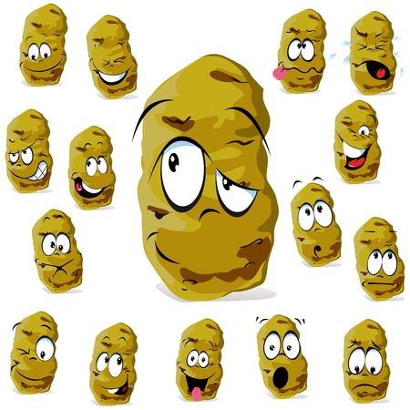 ugly: potato cartoon with many expressions isolated on white background