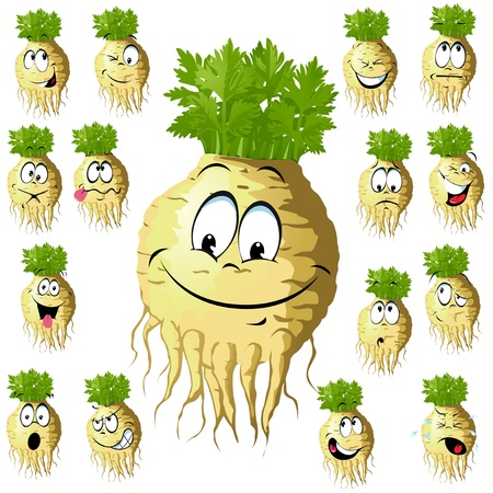root vegetables: celery cartoon with many expressions isolated on white background