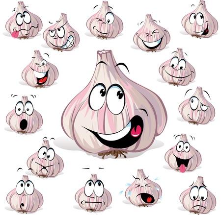 ajo: cabeza de ajo de dibujos animados con muchas expresiones