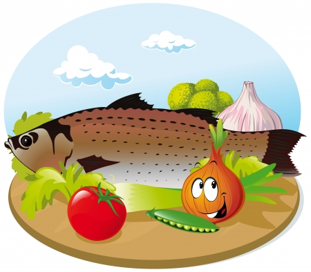 fish with vegetable on wooden cutting board
