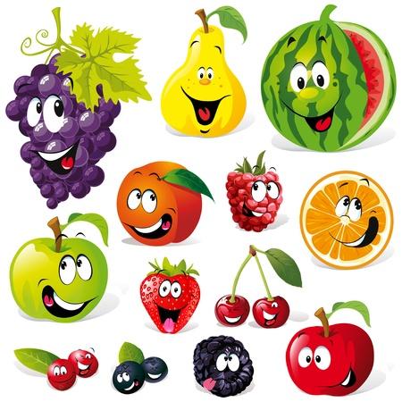 manzana caricatura: dibujos de frutas divertida aisladas sobre fondo blanco Vectores