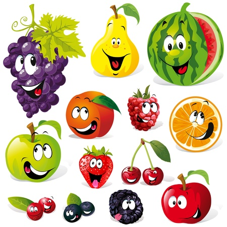 cartoon food: funny fruit cartoon isolated on white background