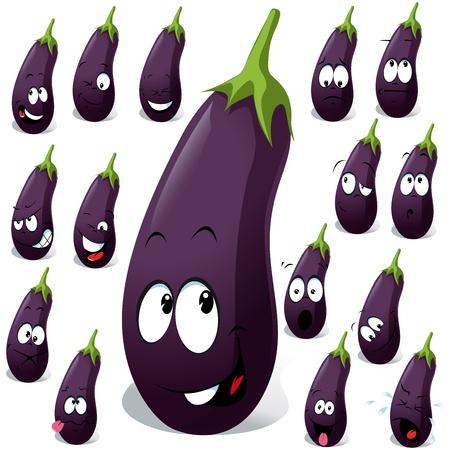 aubergine: Auberginen mit vielen Ausdruck