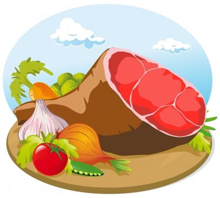 cutting board: pork ham with vegetable on wooden cutting board