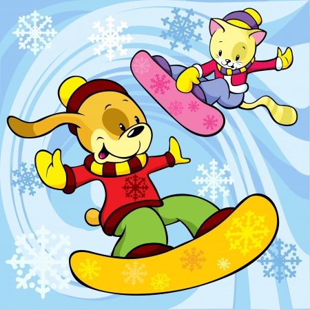cat and dog on the snowboard