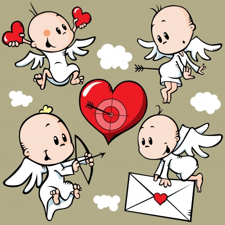 cute angels with valentine heart Vector