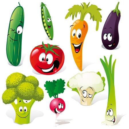 pepino caricatura: historieta divertida vegetales aisladas sobre fondo blanco