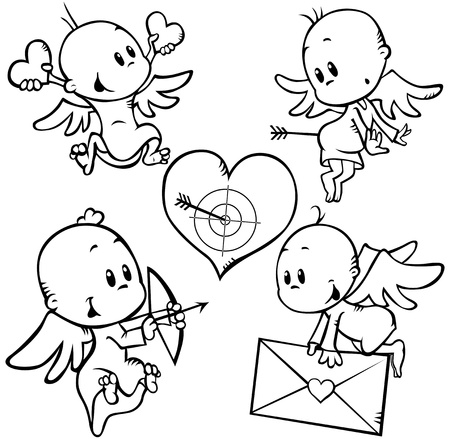 valentine angels with heart shoot through Vector