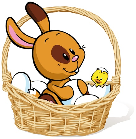 easter bunny sitting in basket with white eggs and chicken Stock Vector - 13847830