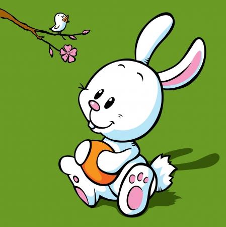 bunny rabbit: blanco conejito de pascua explotaci�n de huevos, mirando al canto de un p�jaro en la rama florida