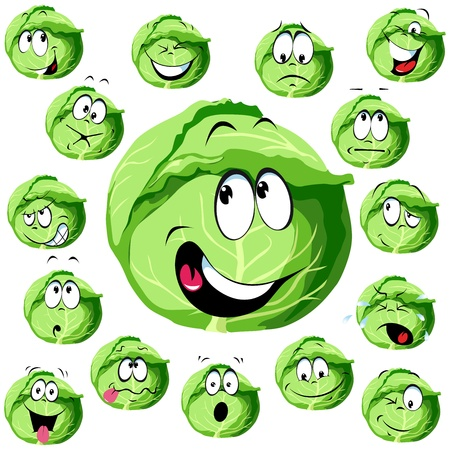 diet cartoon: cabbage cartoon with many expressions