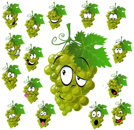 wine grape with many expressions Illustration