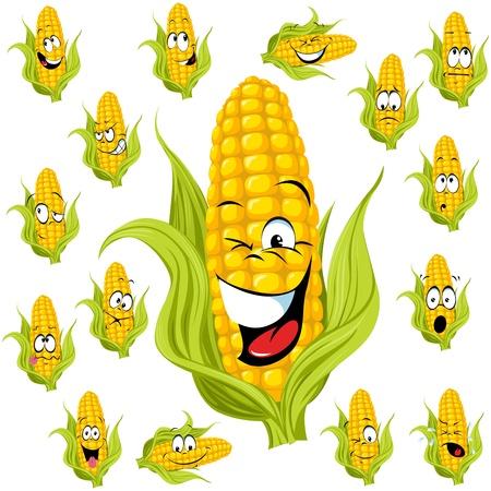 planta de maiz: ma�z dulce de dibujos animados con muchas expresiones Vectores