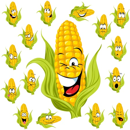 sweet corn cartoon with many expressions Vector