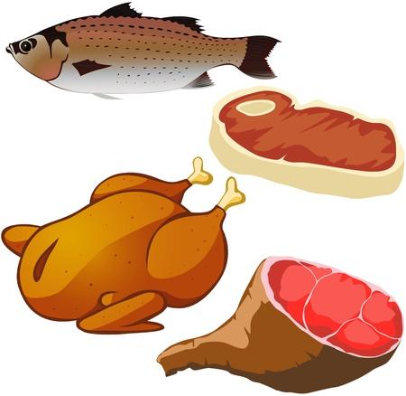carne isolato su sfondo bianco Vettoriali