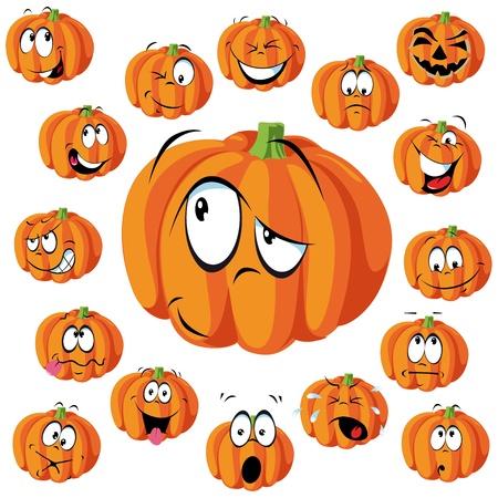 halloween k�rbis: K�rbis-Karikatur mit vielen Ausdr�cken Illustration
