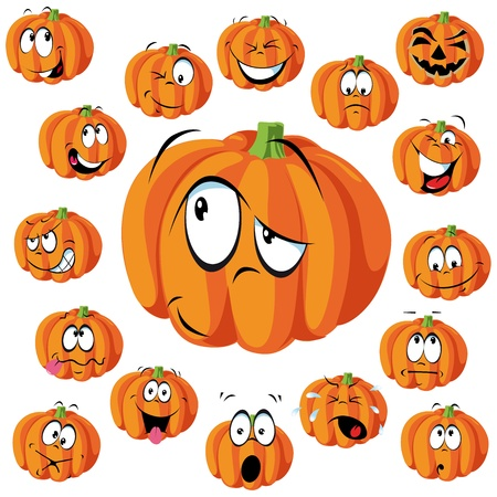 pumpkin cartoon with many expressions