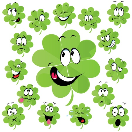 Four leaf clover cartoon with many facial expression - symbol of happiness  Vector
