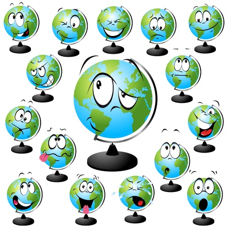 globe illustration with many facial expressions isolated on white background  Illustration